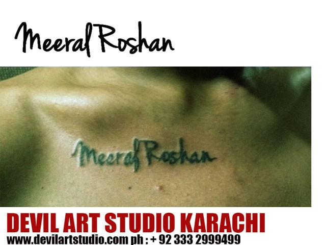 Custom font tattoo design done by asif sultan devil art tattoo karachi