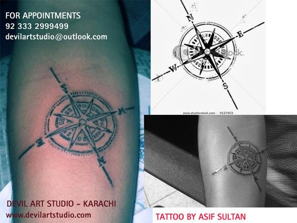 North Star Compass tattoo
