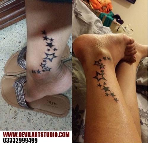 Stars on ankle done at devil art studio karachi