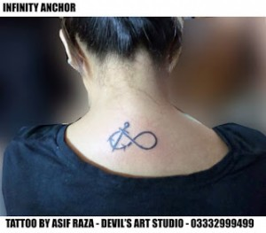 Infinity sign tattoo done on the back of this girl at devil art studio by artist asif sultan.